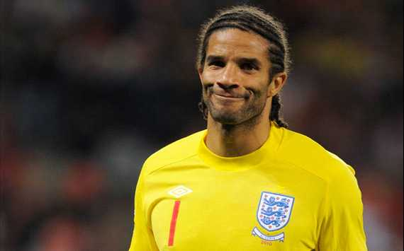 Former England goalkeeper David James training with Exeter City