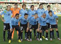 La selección de Uruguay, en el Mundial de  Sudáfrica 2010 (Getty Images)