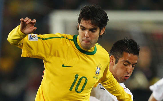 Brazil talisman Kaka skips away from Maurico Isla as the Selecao advance to the QFs (Getty Images)