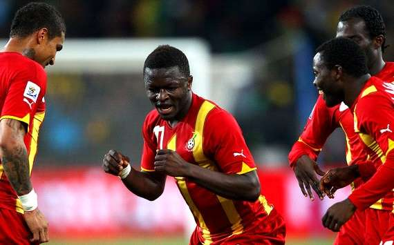 Sulley Muntari leads Ghana in a merry dance after he opens the scoring against Uruguay (Getty Images)
