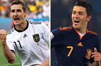 Miroslav Klose (Alemania) - David Villa  (España)