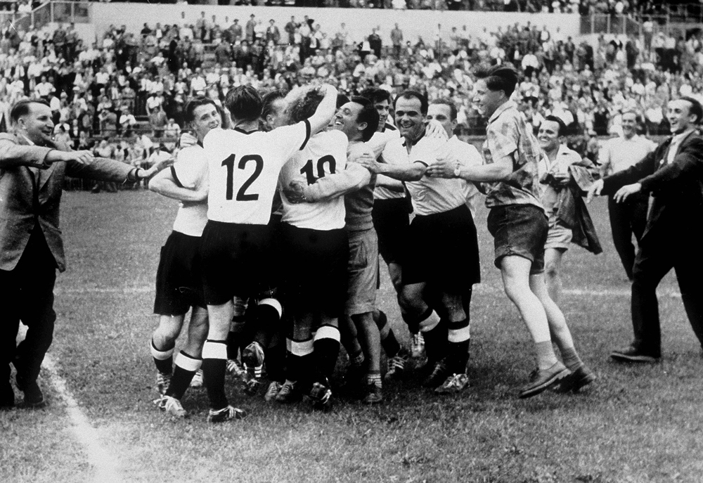 The Germans celebrating one of their best ever wins.