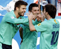 Pique, Villa, Messi - Barcelona (Getty Images)