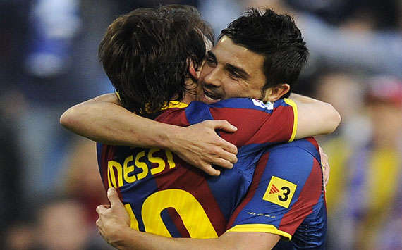 David Villa and Leo Messi (Barcelona)