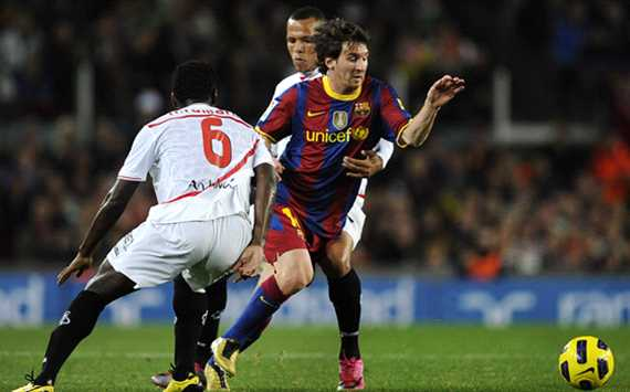 Romaric, Luis FabianoMessi, Barcelona, Sevilla (Getty Images)