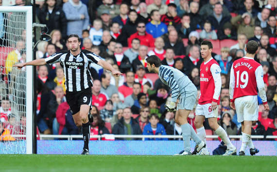 Andy Carroll wheels away after scoring the winner for Newcastle at Arsenal (Getty Images)