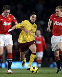 BPL, Manchester United and Arsenal, Samir Nasri, Darren Fletcher and Michael Carrick, (Getty Images)