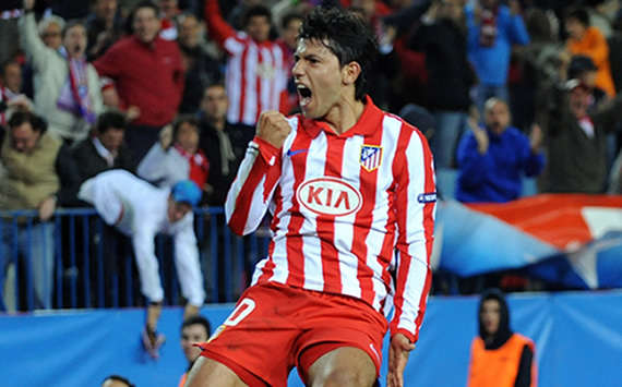 'Kun' Aguero passionately celebrates his crucial goal that takes Atletico Madrid past Espanyol in the Copa del Rey (Getty images)