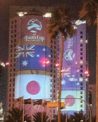Asian Cup 2011:Australia & Japan Flags In Doha