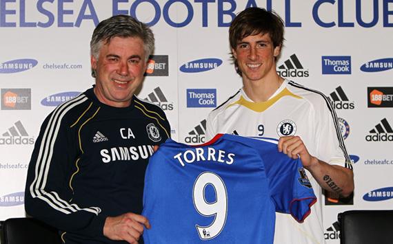 EPL: Fernando Torres, Carlo Ancelotti (Getty Images)