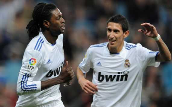 Emmanuel Adebayor, Angel Di Maria, Real Madrid (Getty Images)