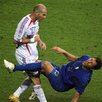 Zidane headbutts Materazzi in World Cup finals (AFP)
