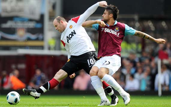 EPL, 	 West Ham United v Manchester United, Wayne Rooney and Manuel Da Costa