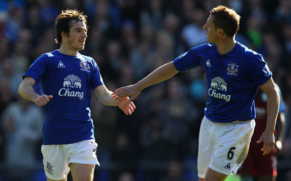 EPL - Everton vs Aston Villa,Leighton Baines and Phil Jagielka