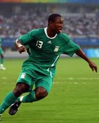 Nigeria's Olubayo Adefemi celebrates an Olympic team goal