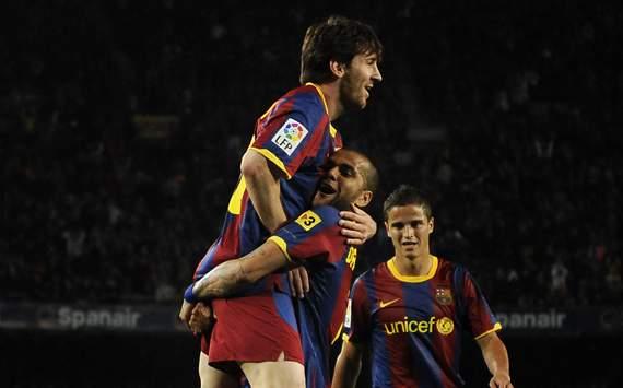 La Liga, Barcelona v CA Osasuna, Lionel Messi, Dani Alves and Ibrahim Afellay