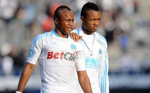 Andre and Jordan Ayew score as Olympique Marseille tie PSG on top of the French Ligue 1