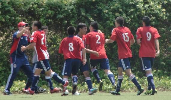 Chivas USA celebrate Corona's goal