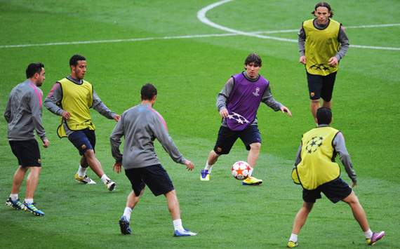 Barcelona training session,Lionel Messi