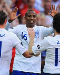 EURO 2012 Qualifier, England v Switzerland, Ashley Young, James Milner and Leighton Baines