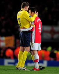 CL, Arsenal v Barcelona, Gerard Pique and Cesc