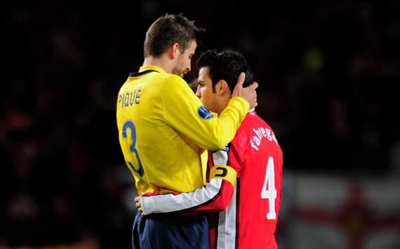 CL, Arsenal v Barcelona, Gerard Pique and Cesc Fabregas