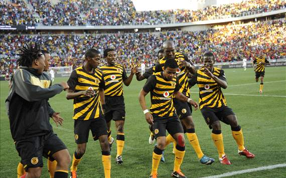 Kaizer Chiefs dance to celebrate a goal