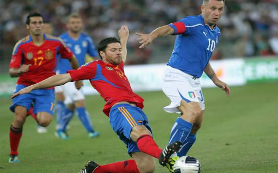 Friendly: Italy vs Spain: Antonio Cassano; Xabi Alonso