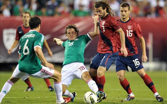 Kyle Beckerman, USA; Andres Guardado, Gerardo Torrado, Mexico