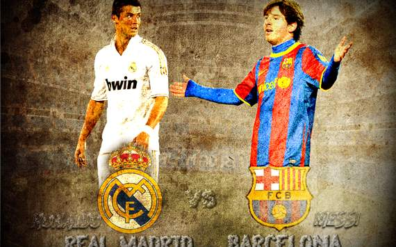 arabic edition wallpaper: messi vs ronaldo , real madrid vs barcelona