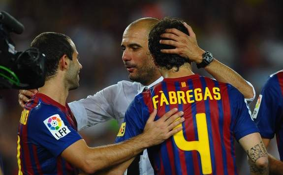 Barcelona's Pep Guardiola and Cesc Fabregas (Getty Images)