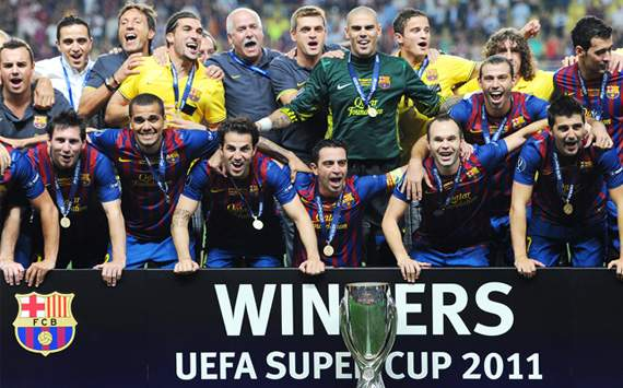 UEFA Supercup: Barcelona celebrates