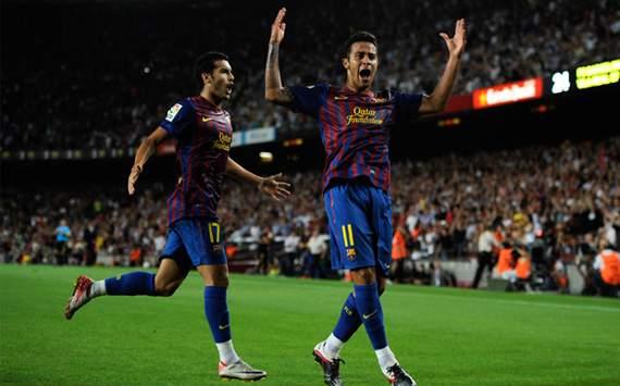 Thiago Alcántara celebra en el partido de la Liga BBVA Barcelona-Villarreal
