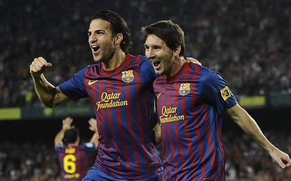 Liga BBVA: Barcelona-Osasuna: Lionel Messi, Cesc Fabregas