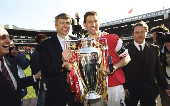 first title skipper tony adams lifted the trophy in arsene wenger s first full season