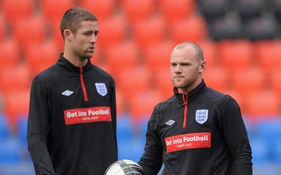 England Training & Press Conference, Gary Cahill and Wayne Rooney