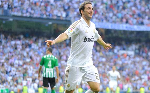 Gonzalo Higuain of Real Madrid celebrates
