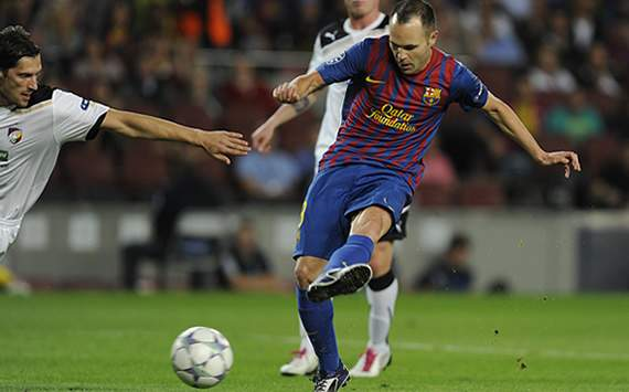 UEFA Champions League: FC Barcelona v FC Viktoria Plzen: Andres Iniesta