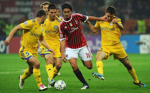 Marko Simic (B), Alberto Aquilani (M), Artyom Radkov (B) - Milan-Bate Borisov - Champions League (Getty Images)