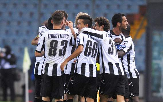 Europa League: Udinese players celebrating - Udinese-Atletico Madrid (Getty Images)