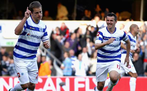 EPL- Queens Park Rangers v Chelsea,Heidar Helguson and Joey Barton