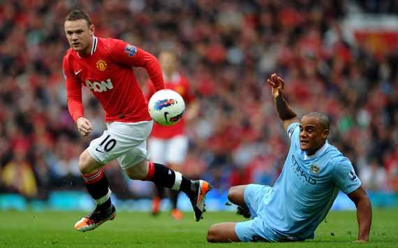 EPL - Manchester United v Manchester City, Wayne Rooney and Vincent Kompany