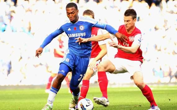 EPL - Chelsea v Arsenal, Laurent Koscielny and Daniel Sturridge