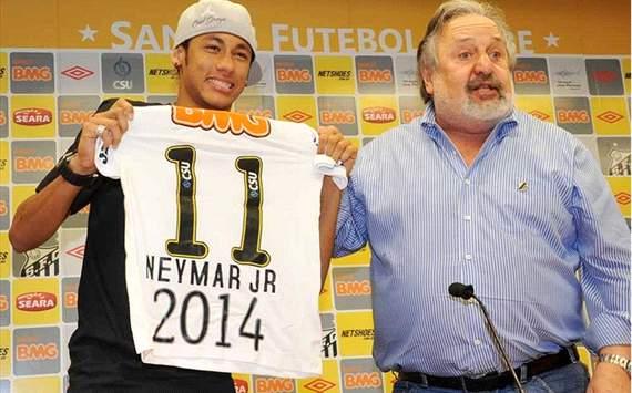 Neymar e Luis Álvaro - Santos (Crédito: Ricardo Saibun/SantosFC)