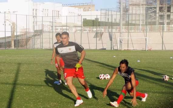 Latihan Timnas Indonesia di Qatar (GOAL.com/Dedy Sugiharto)