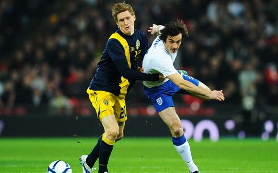 International Friendly : Christian Wilhelmsson -Leighton Baines, England v Sweden