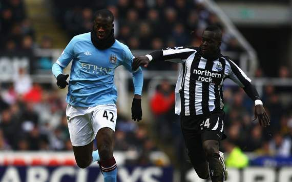 EPL - Newcastle United v Manchester City, Cheik Tiote and aya Toure