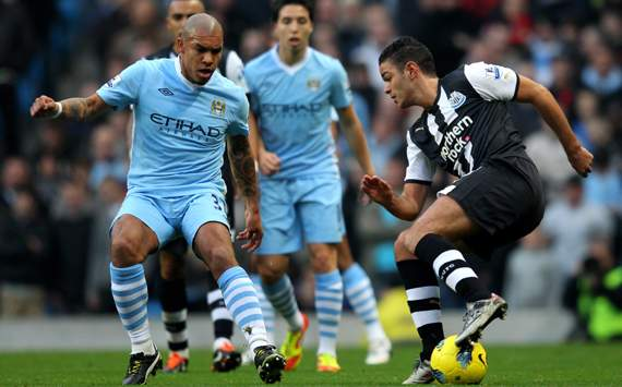 EPL - Manchester City v Newcastle United, Hatem Ben Arfa and Nigel de Jong