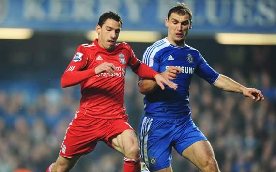 EPL - Chelsea v Liverpool, Maxi Rodriguez and Branislav Ivanovic