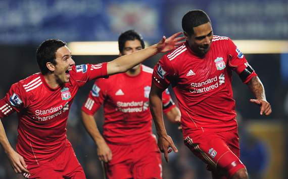 EPL - Chelsea v Liverpool, Glen Johnson and Stewart Downing